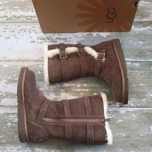 UGG MADDI Triple Buckle Tall Suede Boots 4 EUR 34